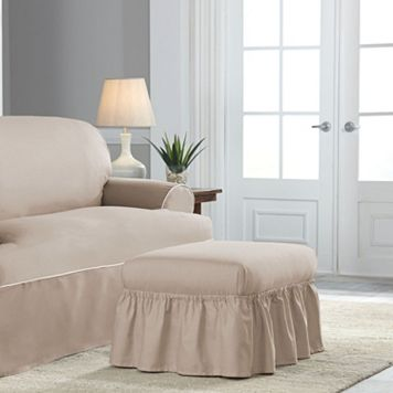Serta Relaxed Fit Twill Ottoman Slipcover