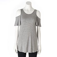 Women's Olivia Sky Striped Cold-Shoulder Tee