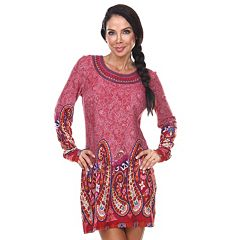 fc757dfc3dd Women s White Mark Paisley Embroidered Sweaterdress. Brick Red Black Gray  ...