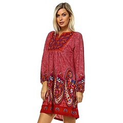 8062a22459a Women s White Mark Smocked Paisley Sweaterdress. Brick Red Gray Blue