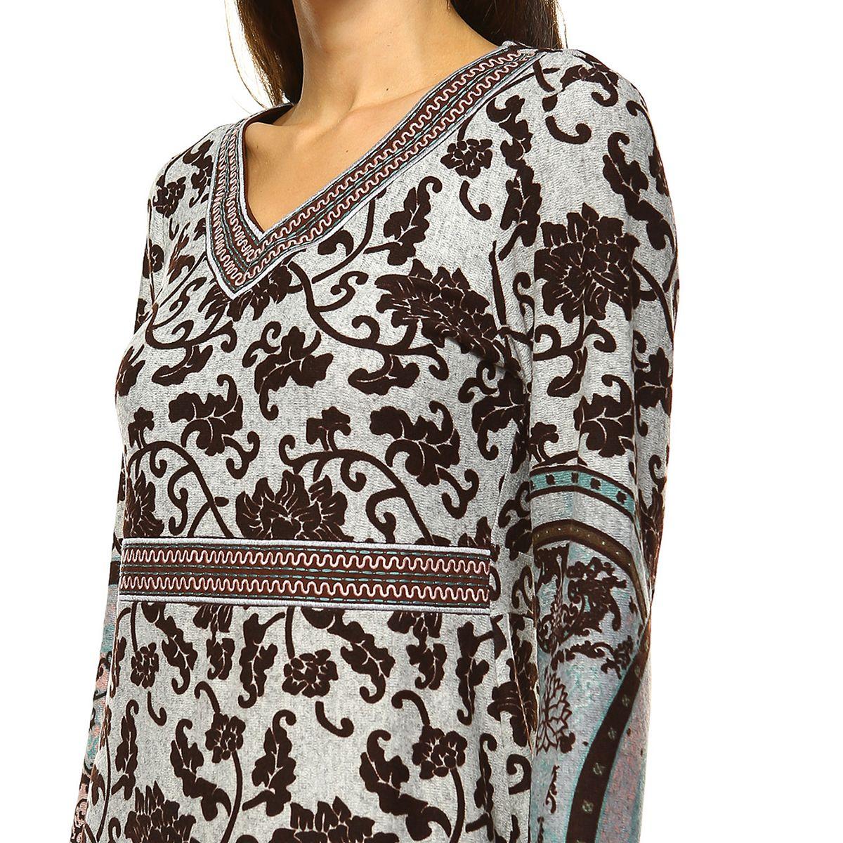 Women's White Mark Print Midi Sweaterdress Brown oHHOd