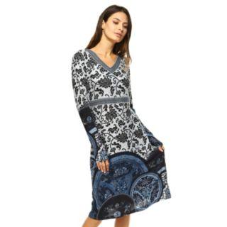 Women's White Mark Print Midi Sweaterdress