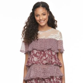 Juniors' Mason & Belle Print Tiered Tie-Back Top