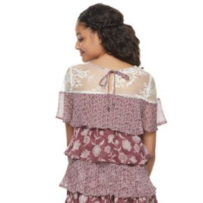 Juniors' Mason & Belle Print Tiered Tie-Back Top