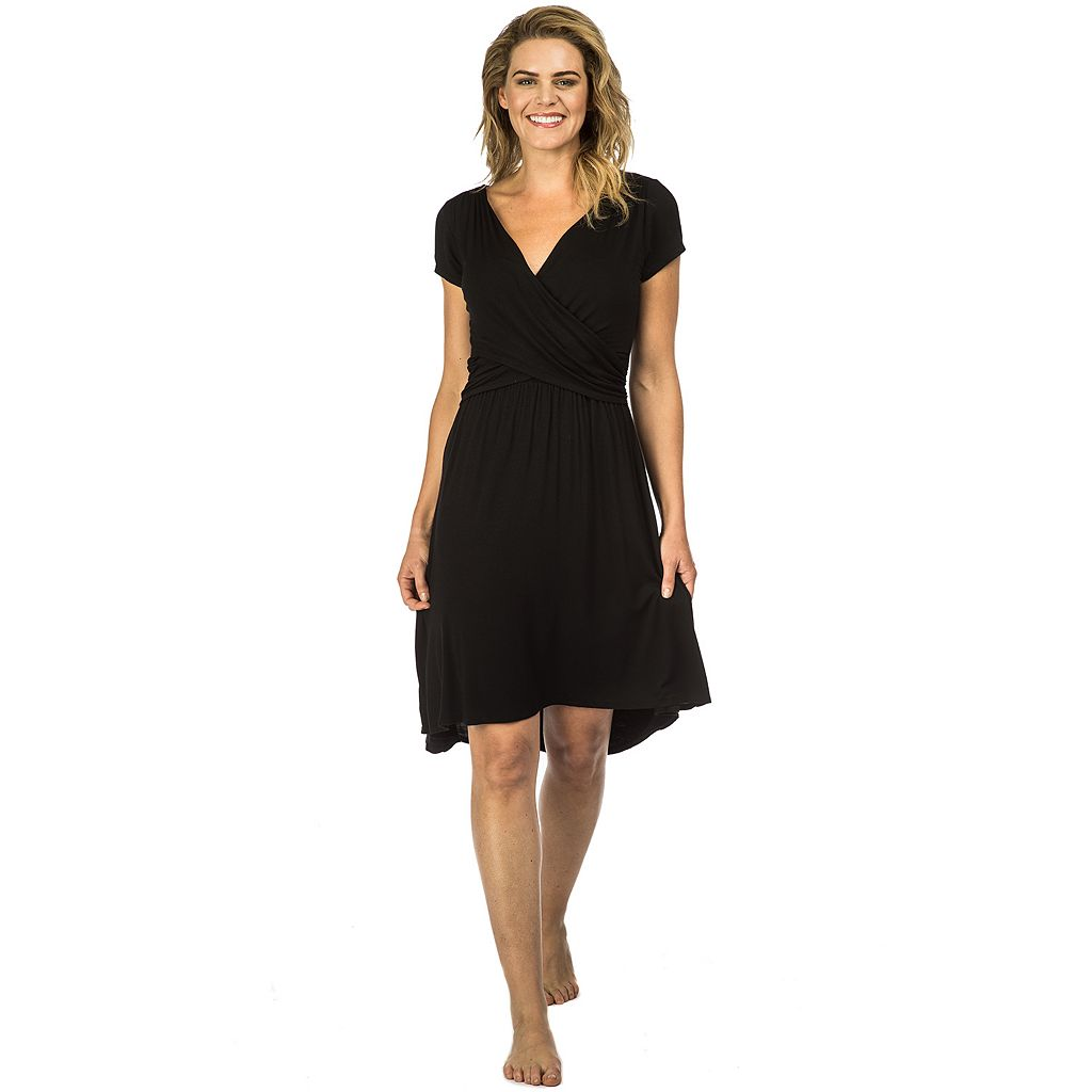 Women's PL Movement by Pink Lotus Shirred Surplice Lounge Dress