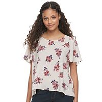 Juniors' Mason & Belle Floral Short Sleeve Top
