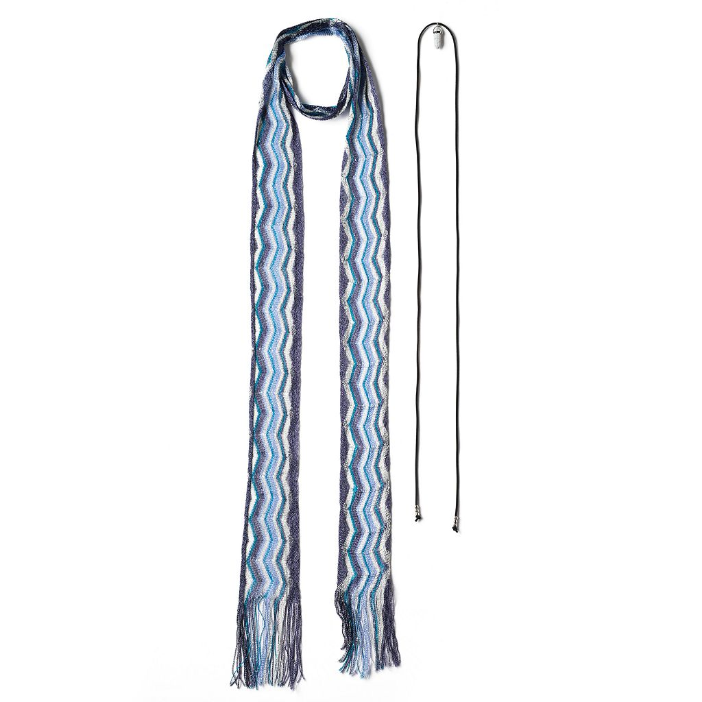 Mudd® Zigzag Skinny Scarf & Simulated Howlite Lariat Necklace Set