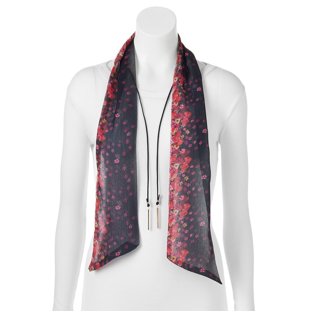 Mudd® Ditsy Floral Skinny Scarf & Bar Lariat Necklace Set