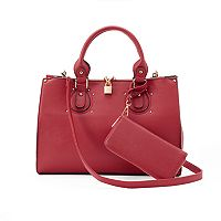 Deluxity Lauren Padlock Double Entry Satchel with Wallet