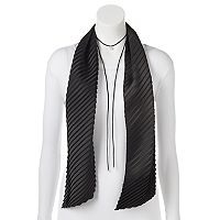 Mudd® Pleated Skinny Scarf & Simulated Pearl Lariat Necklace Set