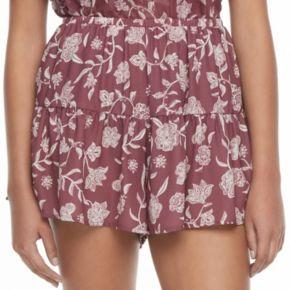 Juniors' Mason & Belle Floral Shortie Shorts