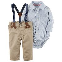 Baby Boy Carter's Shirt, Suspenders & Pants Set