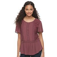 Juniors' Mason & Belle Peplum Hem Lace Top