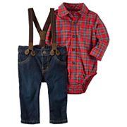 Baby Boy Carter's Plaid Shirt, Suspenders & Denim Pants Set