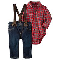 Baby Boy Carter's Plaid Shirt, Suspenders & Denim Pants Set
