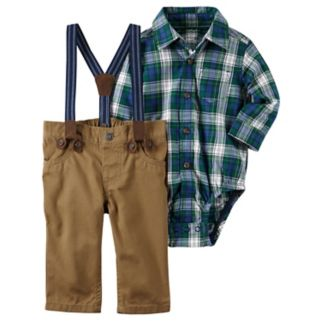 Baby Boy Carter's Plaid Shirt, Suspenders & Pants Set