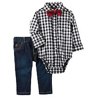 Baby Boy Carter's Plaid Shirt, Bow Tie & Skinny Jeans Set