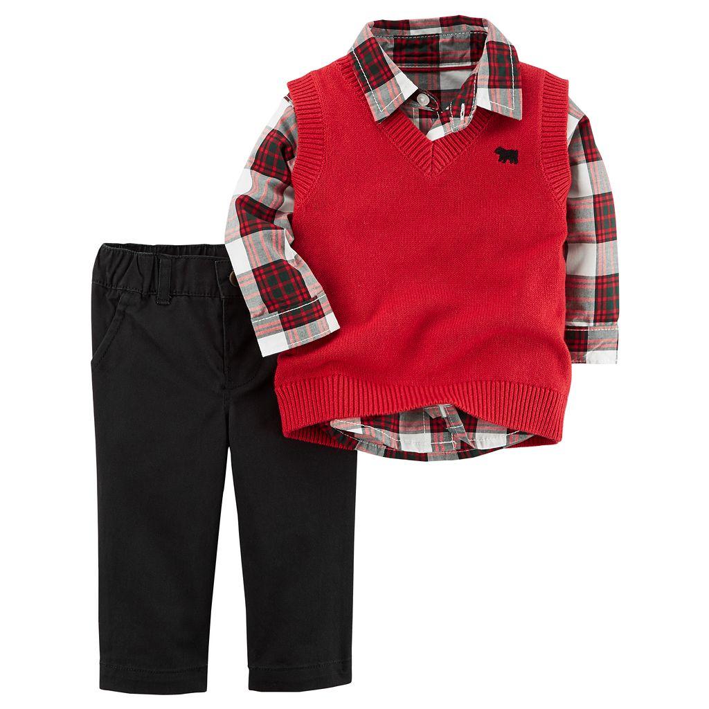 Baby Boy Carter's Plaid Shirt, Sweater Vest & Pants Set