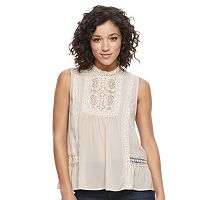 Juniors' Mason & Belle Lace Mockneck Top