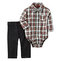 Baby Boy Carter's Plaid Shirt, Bow Tie & Pants Set
