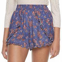 Juniors' Mason & Belle Floral Petal Hem Shortie Shorts