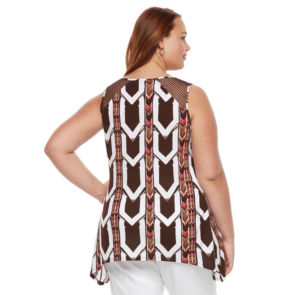 Plus Size Apt. 9® Crochet Trim Shark-Bite Tank Top