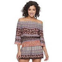 Juniors' Mason & Belle Crochet Off The Shoulder Romper
