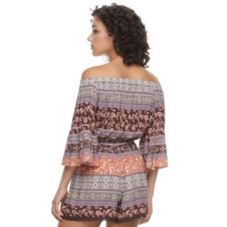 Juniors' Mason & Belle Crochet Off The Shoulder Romper