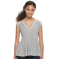 Juniors' Mason & Belle Tiered Lace Back Tank