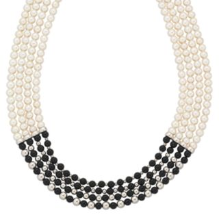 Sterling Silver Onyx and Freshwater Cultured Pearl Four-Strand Necklace