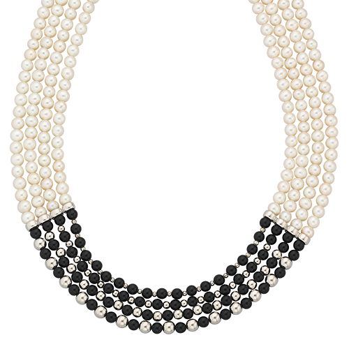 Sterling Silver Onyx & Freshwater Cultured Pearl Four-Strand Necklace