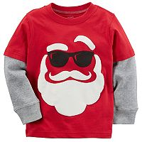 Toddler Boy Carter's Santa in Sunglasses Mock-Layer Tee
