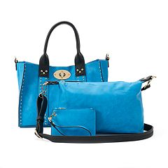 Deluxity 3 pc Samantha Studded Satchel, Pouch & Coin Purse Set