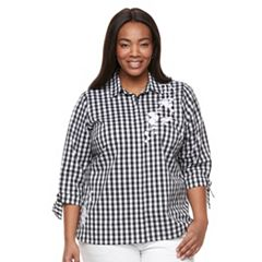 Plus Size Croft & Barrow® Embroidered Button Down with Tie Sleeves