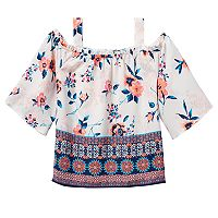 Girls 7-16 Rewind Off Shoulder Patterned Smocked Top