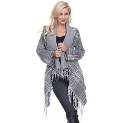 Women's White Mark Plaid High-Low Cardigan