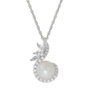 Simply Vera Vera Wang Sterling Silver Dyed Freshwater Cultured Pearl & Lab-Created White Sapphire Swirl Pendant