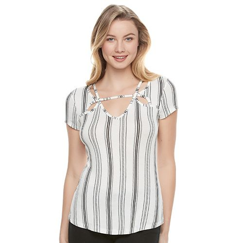 Juniors' Candie's® Strappy Cutout Top