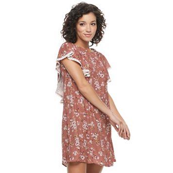 Juniors' Mason & Belle Floral Ruffle V-Back Shift Dress