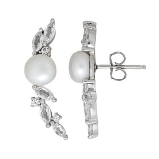 Simply Vera Vera Wang Sterling Silver Dyed Freshwater Cultured Pearl & Lab-Created White Sapphire Vine Drop Earrings