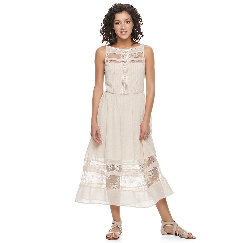 Juniors' Mason & Belle Lace Inset Dress