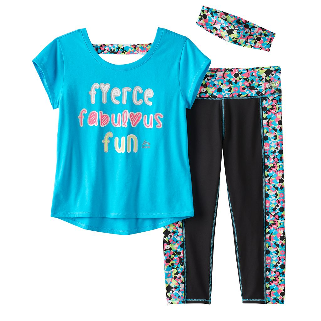 Girls 7-16 RBX High-Low Graphic Tee, Patterned Capri Leggings & Headband Set