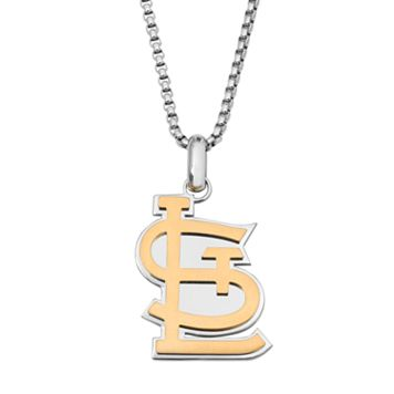 Two Tone Stainless Steel Men's St. Louis Cardinals Pendant Necklace