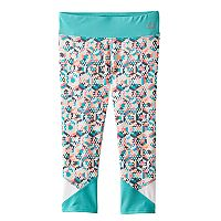 Girls 7-16 RBX Colorblock Waistband Printed Capri Leggings