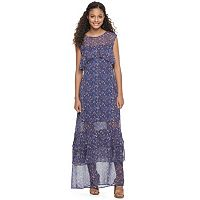 Juniors' Mason & Belle Tiered Floral Maxi Dress
