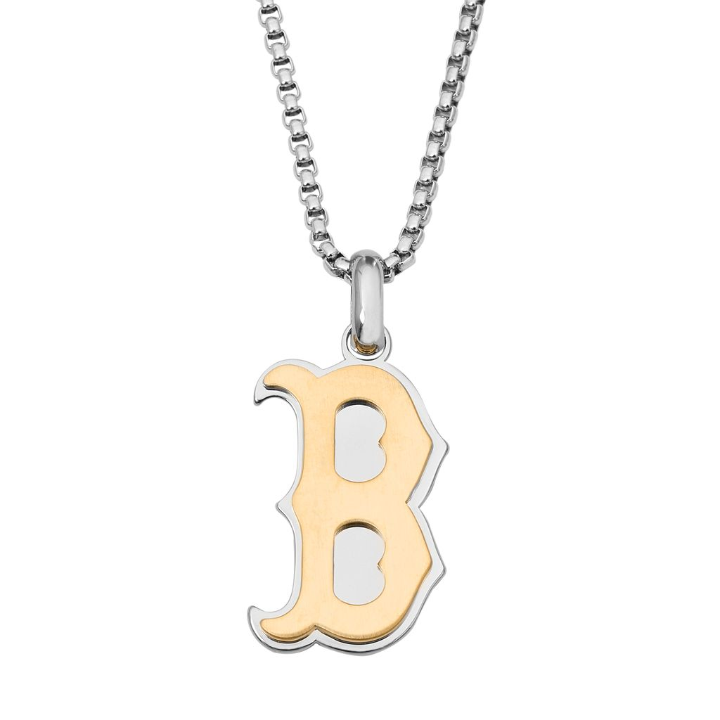 Two Tone Stainless Steel Men's Boston Red Sox Pendant Necklace