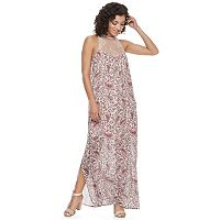 Juniors' Mason & Belle High Neck Lace Maxi Dress