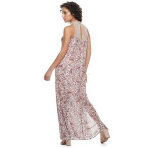 Juniors' Mason & Belle High Neck Lace Maxi Dress