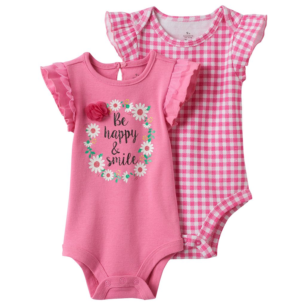 Baby Girl Baby Starters 2-pk. Graphic & Gingham Bodysuits