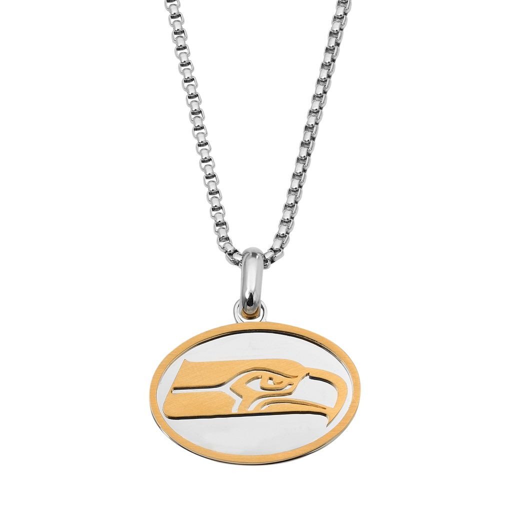 Two Tone Stainless Steel Men's Seattle Seahawks Pendant Necklace
